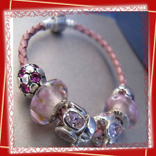 PINK SINGLE WAVED GENUINE LEATHER 925 STERLING SILVER CLASP BRACELET FOR BEADS