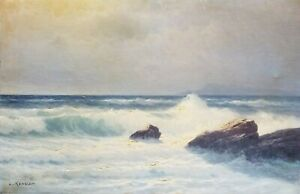 CARL KENZLER (1872-1947) SEASCAPE OIL ON CANVAS 19x29 INCH