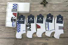 Fashion White 5 Pairs Men's Colorful Geometry Ankle Low Cut Casual Cotton Socks
