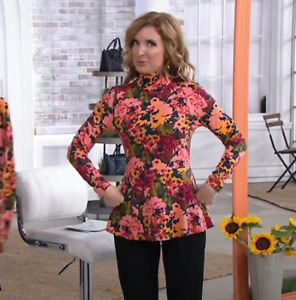 Isaac Mizrahi Peony Bouquet Jersey Knit Mock Neck Peplum Top Green Multi Medium
