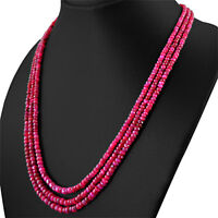 GENUINE 273.95 CTS NATURAL 3 STRAND RED RUBY ROUND FACETED BEADS NECKLACE (RS)