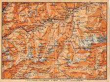 Carta geografica antica SVIZZERA V. Tavetsch Medel Old Map Switzerland 1905