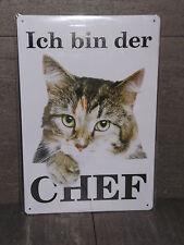 metal sign nostalgia Cat I Bin Der Chef Text Plate Retro 20 11 13/16in Retro