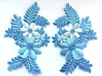 FLOWER PATCH X 2; Light Blue, matching pair; SEW-ON/IRON-ON *embroidered* Leaves