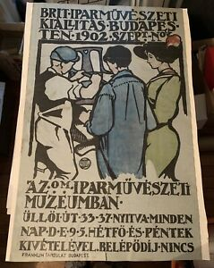 XRare 1902 George Walton Arts Crafts Exhibit Poster Budapest, Franklin-Tarsulat