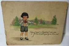 """Vtg Antique 1928 Valentines Day Card """"Your Heart Is Bleeding� Series No 3 J.G.H."""