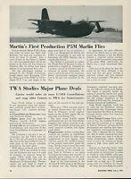 1951 Aviation Article First Test Flight Martin P5M Marlin Seaplane Flying Boat