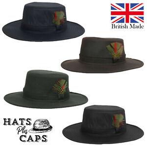 British Made Wax Cotton Fedora Outback Bush Hat Waterproof Sun Rain Wide Brim