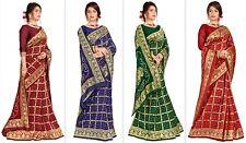 Banarasi Silk Saree Bollywood Indian Bridal Zari Woven Golden Lace Border SariNN