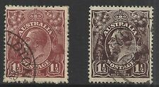 Australia Scott 63 - 63a Used - 1919 1.5p King George V Issue Cat $8.75