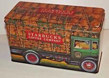 VINTAGE STARBUCKS Company TIN Coffee Truck Coffee Box SILVER CRANE England_EMPTY