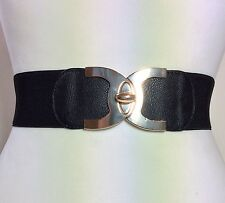 WIDE ELASTICATED BLACK WAIST BELT / LEATHER & GOLD METAL BUCKLE / FASHION 67