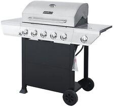 Nexgrill 5-Burner Propane Gas Grill Stainless Steel Side Burner Black Cabinet