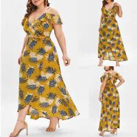 Fashion Women's Plus Size V-neck Casual Bohemian Off-Shoulder Banded Long Dress