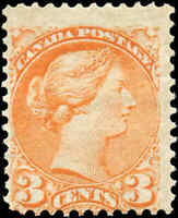 1873 Mint Canada VG-F Scott #37 3c Small Queen Issue Stamp Hinged
