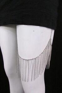 Sexy Women Silver Metal Fringes Long Leg Armor Chain Body Tassel Fashion Jewelry