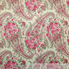 BonEful Fabric FQ Cotton Quilt Green Pink Paisley Rose Flower French Shabby Chic