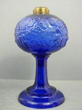 ANTIQUE RARE COBALT BLUE SANDWICH GLASS BLACKBERRY KEROSENE OIL LAMP ROUND BASE