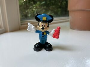"""Disney 2011 Mattel Police Officer Mickey Mouse Figure Cake Topper Toy 2.5"""" Tall"""