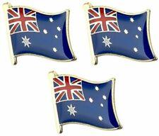 3 Australian Flag Enamelled Metal Pin Badges - AUSTRALIA and Free Postage