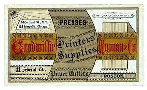 Goodwillie, Wyman & Co. Printers Supplies Victorian Advertising Trade Card