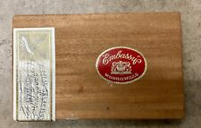 """EMBASSY Vintage Wooden Cigar Tobacco Box 9x6"""" Great Condition"""