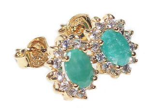 8mm Genuine Emerald Stud Gold Filled Round Diamonds Surrounding Earrings.