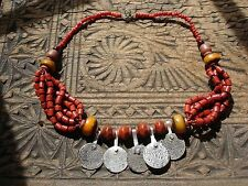 Moroccan large tarnished amber resin and enamel bead necklace