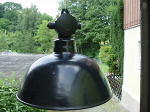 alte DDR Emaillampe Fabriklampe Werkstattlampe Loftlampe Top DEKO !!!  37 cm
