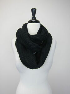 New York & Company Women's Cable Knit Infinity Scarf Black  NWT