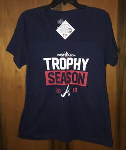 NWT Women's Atlanta Braves 2019 Trophy Season V-neck T-Shirt. Blue & Sz Small