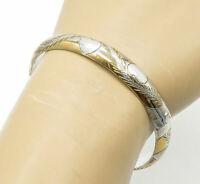 925 Sterling Silver - Two Tone Love Heart Floral Vine Bangle Bracelet - B6840