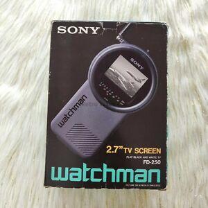 "Vintage 1989 SONY Watchman FD-250 Black & White Portable TV Television 2.7"""