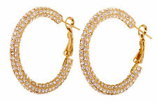 "Swarovski Elements Crystal 1.5"" Kalix Hoop Pierced Earrings Gold Plated 7208z"
