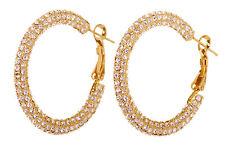 """Swarovski Elements Crystal 1.5"""" Kalix Hoop Pierced Earrings Gold Plated 7208z"""