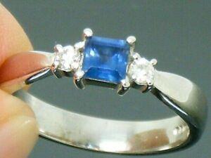9ct Gold Blue Sapphire & Diamond Hallmarked Chunky Design Ring size M