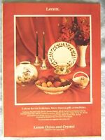 1985 Magazine Advertisement Page For Lenox China & Crystal Holiday Dishes Ad