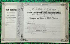 Dépt 33 - Bordeaux Quartier de Bacalan - Déco Rare Forges & Fonderies 26/01/1840