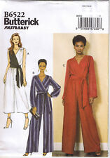 Mock Wrap Surplice Jumpsuit Long or Crop Leg Sash Sewing Pattern 8 10 12 14 16