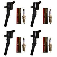 Set of 4 Ignition Coils + 4 Motorcraft Spark Plugs For 1998-2008 Ford Lincoln