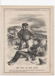 MR. PUNCH & DISRAELI 'THE WAY OF THE WIND' 1878 Punch Satirical Cartoon