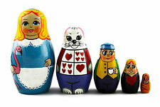 Alice in Wonderland Matryoshka Russian Nesting Dolls Babushka Matrioshka 5 Pcs