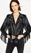 Zara Studded Leather Effect Biker Jacket With Fringe Size M Uk 10 Genuine Zara