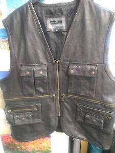 Mens Leather Waistcoat Aviatrix XL