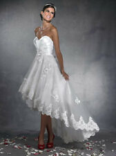 Short High Low Lace Sweetheart Wedding Dress White/Ivory Beach Bridal Gown New