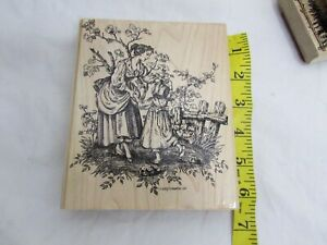 HUGE STAMP Mother And daughter dancing Stampin UP rubber
