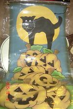 "NEW Halloween Banner 14"" x 30"" Nylon Canvas Hang PUMPKIN Black CAT Moon Spooky"