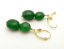 Beautiful 14k Yellow Gold Dangle Emerald Beads Leverback Earrings