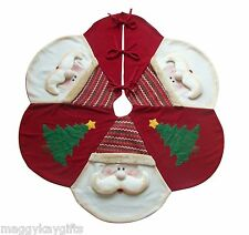 "Large Luxury Christmas Tree Skirt Red Santa  - 48"" 122 cm Decoration Unique Mat"