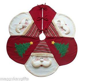 "Christmas Tree Skirt Red Santa Large Luxury 48"" 122 cm Decoration Apron Mat 3D"